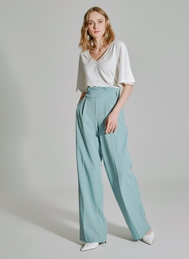 People By Fabrika Bel Detaylı Pantolon Yeşil